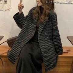 "Thumbnail of ""秋冬韓版英倫風百合ゆる気質チェックウーコート女史 A087H"""