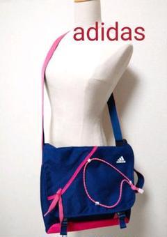 "Thumbnail of ""adidas ショルダーバッグ 斜め掛け ブルーとピンクのバイカラー ロゴ入り"""