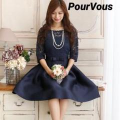 "Thumbnail of ""PourVous ウエストリボン ドッキングワンピース ドレス"""