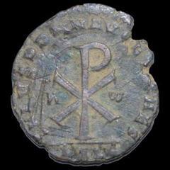 """Thumbnail of """"ローマ帝国ガリア属州ルグドゥノム造幣所 2センテニオナリス青銅貨 351年"""""""