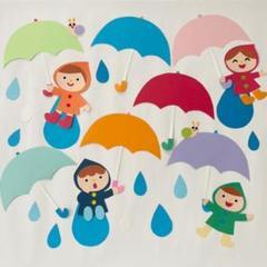 "Thumbnail of ""壁面飾り 梅雨 製作 保育 傘 カッパ かたつむり 雨"""