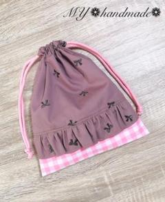"Thumbnail of ""巾着 リボン刺繍 フリル ギンガムチェック ハンドメイド 給食袋コップ袋お菓子袋"""