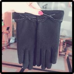 "Thumbnail of ""シルクの手触り♪高級カシミヤ シルク手袋 ウール 手袋 ブラック"""