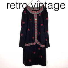 """Thumbnail of """"W2445*vintage ノーカラージャケット スカート 黒ブラック 花柄"""""""