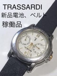 "Thumbnail of ""【値下げ】トラサルディ メンズクォーツ腕時計 新品電池 新品ベルト"""