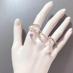 """Thumbnail of """"ジルコニア宝石purple 2連チェーンリング"""""""