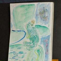 """Thumbnail of """"カエルのぴょん田、王子に、なる。の、オリジナル水彩画。"""""""