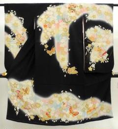 "Thumbnail of ""七五三 正絹 7歳用 女の子 高級 振袖 着物◆黒色 鞠に蝶◆h1029"""