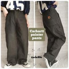 "Thumbnail of ""【大人気】Carhartt 革ロゴ ストレート ダック地 ペインターパンツ 墨黒"""