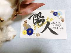 "Thumbnail of ""命名書♡青系フラワー ナチュラル"""