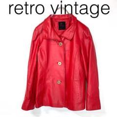"Thumbnail of ""W3016*vintage 個性派 羊革 レザージャケット 赤レッド L"""