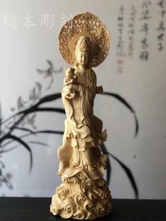 "Thumbnail of ""極上品  実木彫刻の送子観音立像   開運風水  置物"""