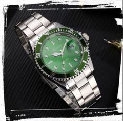 "Thumbnail of ""新品 送料込み メンズ ビジネス クォーツ 腕時計 シルバー×緑"""