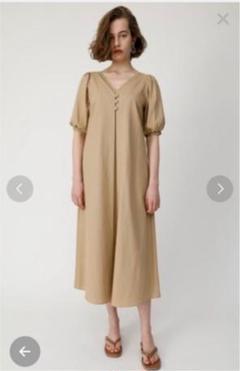moussy PUFF SLEEVE LINEN BLEND DRESS
