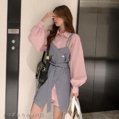 "Thumbnail of ""ツーピースファッションポロカラーシャツスリムサスペンダースカート W876L"""