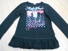 "Thumbnail of ""♪mezzopianoメゾピアノ 黒ロゴプリント長袖TシャツカットソーS140"""