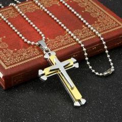 【新品】ネックレス クロス 十字架 シンプル ユニセックス シルバー ゴールドのサムネイル