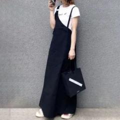 "Thumbnail of ""韓国 ワンショルダー ストラップ ジャンパースカート サロペット ロング丈 黒"""