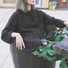 """Thumbnail of """"★トレンド★ チャイナシャツ カンフーシャツ 長袖 黒"""""""