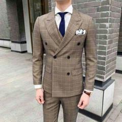 """Thumbnail of """"チェック柄 メンズ スーツ セットアップ 3点セット スリムスーツ ビジネスx"""""""
