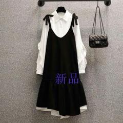 "Thumbnail of ""新作2021早春新款大码女装时尚显瘦减龄衬衫背带连衣裙两件套装I"""
