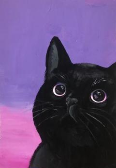 "Thumbnail of ""絵画 ピンクの目の黒猫 原画"""