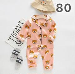 "Thumbnail of ""子供用 くま柄 パジャマ ルームウェア 80 ピンク セットアップ 韓国 子供服"""