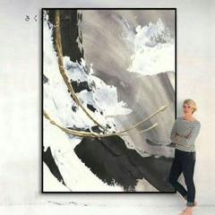 "Thumbnail of ""手で油絵を描いた北欧客間縦版のライトな白黒のグレー調の抽象画。 さくらこ2#"""