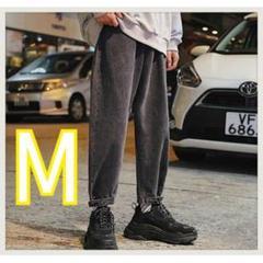 """Thumbnail of """"《爆売れ》9分丈 ジーンズ ストレートパンツ デニム生地 ワイド ブラック M"""""""