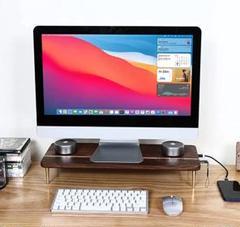 "Thumbnail of ""❤️大特価❤️木製 モニター台 デスク 作業台 机上台 USB3.0 PC台"""