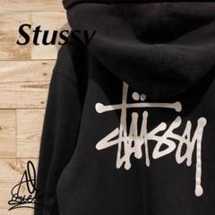 """Thumbnail of """"《バックロゴ》Stussy ステューシー パーカー M☆ブラック 黒 デカロゴ"""""""