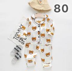 """Thumbnail of """"子供用 クマ パジャマ ルームウェア 80 白 長袖 セットアップ 韓国 子供服"""""""