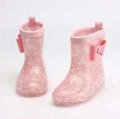 "Thumbnail of ""18cm 花柄♡リボン 子ども 長靴 レインブーツ 女の子 ピンク 桃色 雨"""
