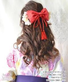 "Thumbnail of ""髪飾り あじさい和リボン 紅桜"""