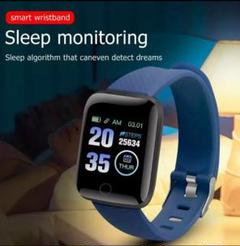 スマートウォッチ 116plus ブルー 最新型 歩数計 血圧 心拍数
