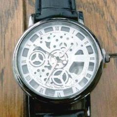 """Thumbnail of """"新品 未使用!メンズウォッチスケルトンデザインレザーストラップアナログ腕時計"""""""