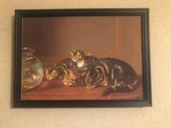 "Thumbnail of ""051 金魚鉢の側の猫 キャンバスアート【A4サイズフレーム付】"""