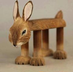 "Thumbnail of ""動物柄スツール バニースツール 小型 木製スツール 子供用 チェアR"""