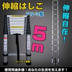"Thumbnail of ""5m伸縮はしご 足場 アルミ製 収納コンパクト 凹凸構造"""