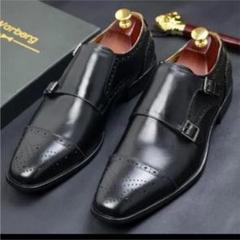 "Thumbnail of ""26.5cm本革ダブルモンクストラップ ウィングチップ高級紳士靴"""