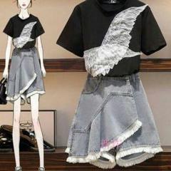 """Thumbnail of """"新品夏にはウエストが細く見える半袖スカートの二点セットの女性$O"""""""