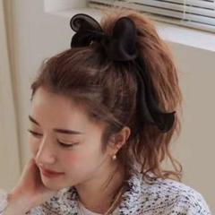 """Thumbnail of """"ビッグヘアリボン ヘアゴム ヘアアクセ ブラック 韓国ファッション オルチャン"""""""