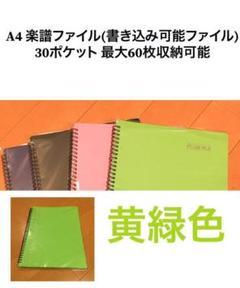 "Thumbnail of ""A4 楽譜 ファイル 30ポケット 60枚収納可能 黄緑 グリーン"""