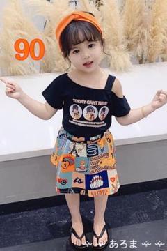 """Thumbnail of """"90 オフショルダー プリントスカート セットアップ 半袖 Tシャツ"""""""