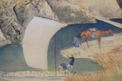 """Thumbnail of """"【真作】山下竹斎/湖畔秋色図/秋景山水人物図/掛軸☆宝船☆Y-180 JM"""""""
