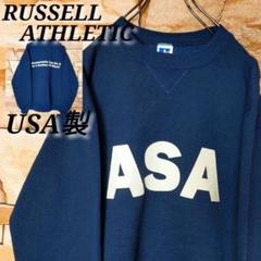 【USA製】ラッセルRussell スエットトレーナー デカロゴ 英字 ネイビーのサムネイル