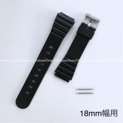 "Thumbnail of ""黒ブラック樹脂製ベルト☆取付幅18mm用♪バネ棒2本付属,交換ベルト腕時計ベルト"""