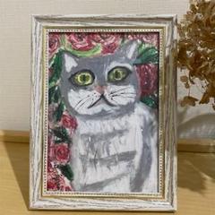 """Thumbnail of """"絵画、原画、手描き 【バラと猫】"""""""