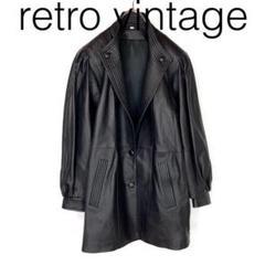 "Thumbnail of ""W2368*vintage 定番人気カラー 個性派 レザーコート 黒ブラック"""