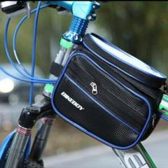 "Thumbnail of ""自転車バッグ サイクリングバッグ 防水フレームバッグ 黒色 青色渕"""